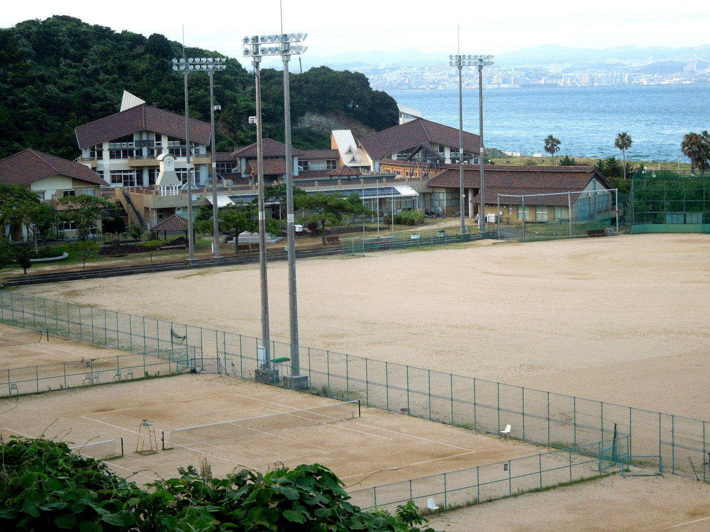This is Iwaya JHS, one of the two middle schools I teach at. It is only a 3 minute walk from my apartment. You can see Kobe across the water in the background.
