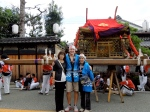 My home stay mom and her daughter in front of the mikoshi.