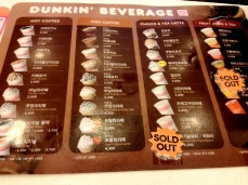 DD drink menu. The sweet potato latte is addicting.