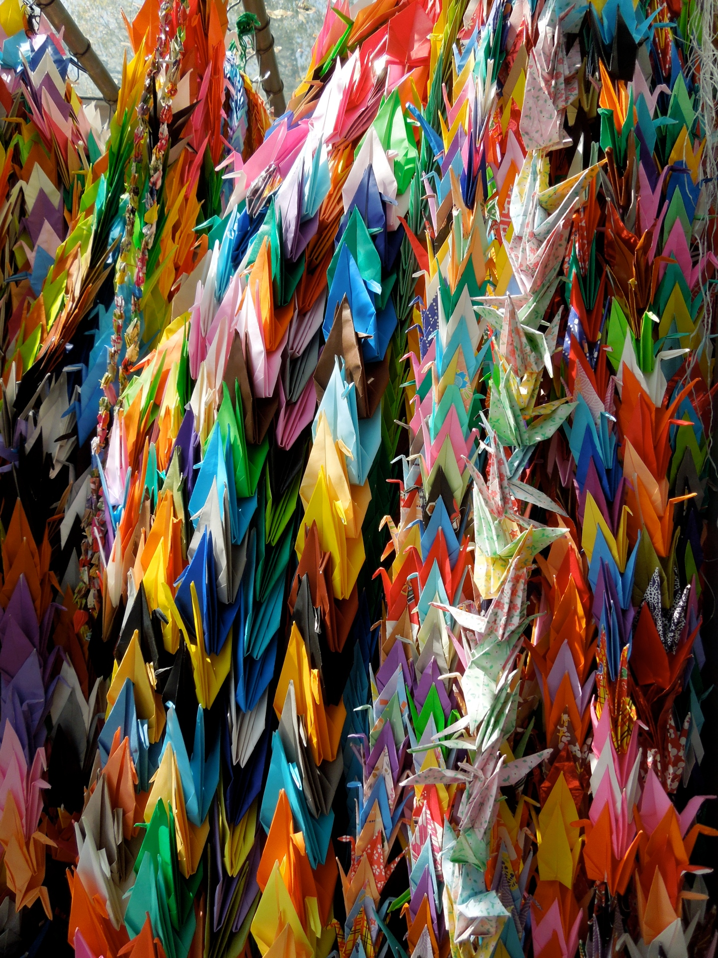 Paper cranes sent in from schools throughout the world.