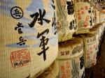 sake barrels at the shrine.